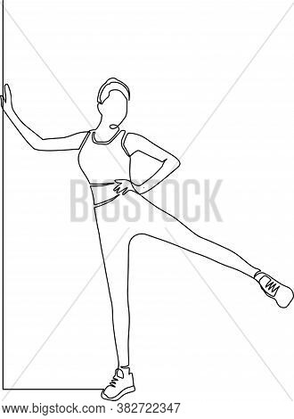 Continuous Line Drawing Of Women Fitness Yoga. Concept Of Health Illustration. One Continuous Drawn