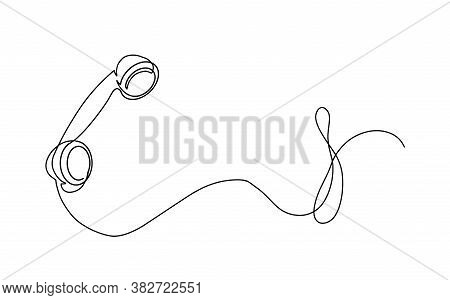 One Line Drawing Of Isolated Vector Object Telephone Receiver. Vintage Retro Telephone Communication