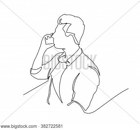 Continuous Line Drawing Of Standing Man Emotionally Speaking On Cell Phone. Businessman Speaking On