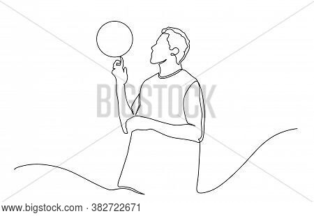 Continuous Line Drawing Of Basketball Player. Continuous Line Drawing Of Basketball Spinning Ball On