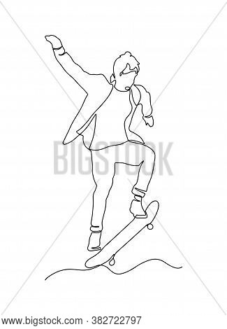 Continuous Line, Drawing Of A Teenager Riding A Skateboard. Simple Hand Drawn, Vector Illustration.