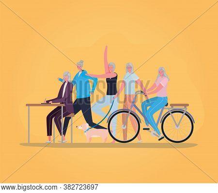 Senior Women Cartoons Doing Activities Design, Activity Theme Vector Illustration