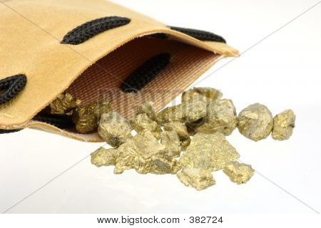 leather bag and gold nuggets poster