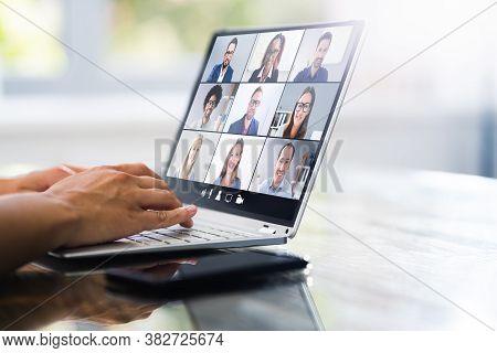 Video Conference Webinar Call. Online Work Meeting