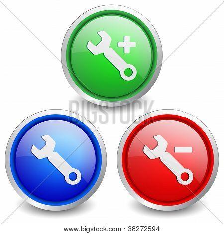 Set of 3 popular buttons - repair