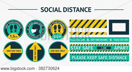 Set Sticker Round Social Distance. Please Keep Your Distance. Please Put On Your Mask. Security Line