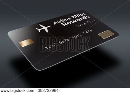 A Black Air Miles Rewards Credit Card Is Seen Isolated On A White Background.