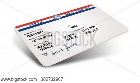 Here Is A Mock Generic Government Medicare Medical Insurance Card Isolated On A White Background And