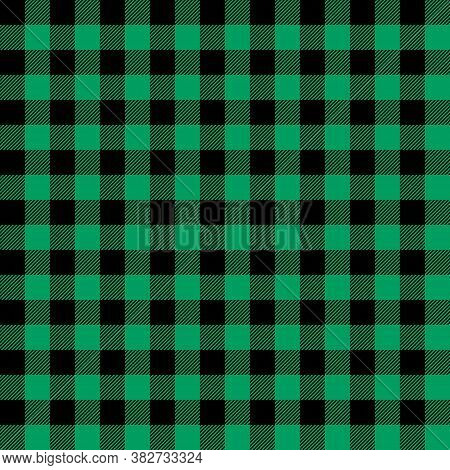 Tartan Shamrock Green Plaid. Scottish Pattern In Black And Green Cage. Scottish Cage. Traditional Sc