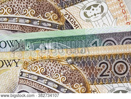 New Banknote Worth One Hundred And Two Hundred Polish Zlotys, Close-up Of Cash Polish Money