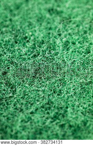 Rough Side Of Green Sponges For Washing Dishes And Other Items, Closeup Of Kitchen Sponges