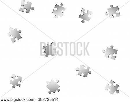 Business Tickler Jigsaw Puzzle Metallic Silver Parts Vector Illustration. Scatter Of Puzzle Pieces I