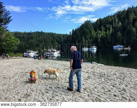 Tod Inlet, Brentwood Bay, Canada - July 4th, 2020: Families Walking Along The Beach In Tod Inlet, A