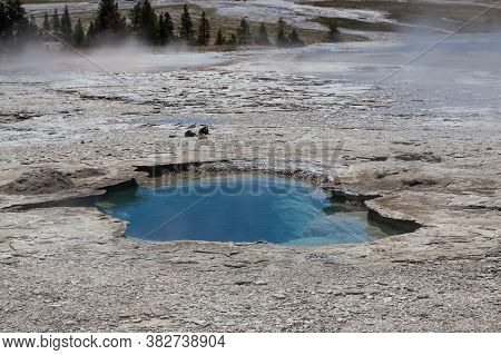 A Deep Blue Thermal Pool Of Hot Water With Bacteria Formations In A Steamy Landscape At Yellowstone