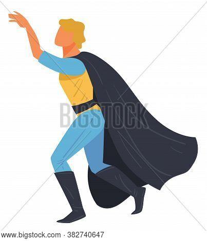 Super Hero Male Character, Superman Wearing Costume Vector