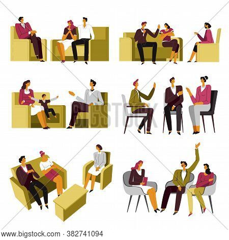 Psychotherapy Session, Family Couple At Specialists, Psychiatry Help