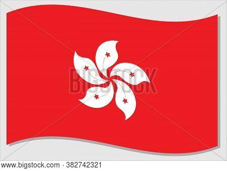 Waving Flag Of Hong Kong Vector Graphic. Waving Hongkonger Flag Illustration. Hong Kong Country Flag