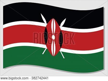 Waving Flag Of Kenya Vector Graphic. Waving Kenyan Flag Illustration. Kenya Country Flag Wavin In Th