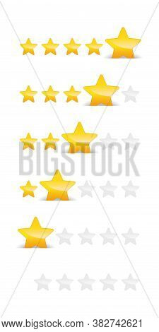 Rating Stars - Golden And Gray Stars With Different Ranking - 5, 4 , 3, 2 And 1 Of 5 Appraisal Stars