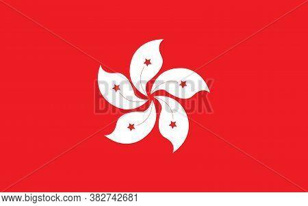 Hong Kong Flag Vector Graphic. Rectangle Hongkonger Flag Illustration. Hong Kong Country Flag Is A S