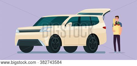 Young Man Carry Grocery Bags In Suv Car. Vector Flat Illustration.