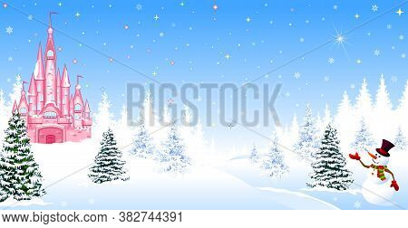 Pink Castle. Winter Landscape. The Night Before Christmas. Trees, Snow, Forest. Shining Stars And Sn