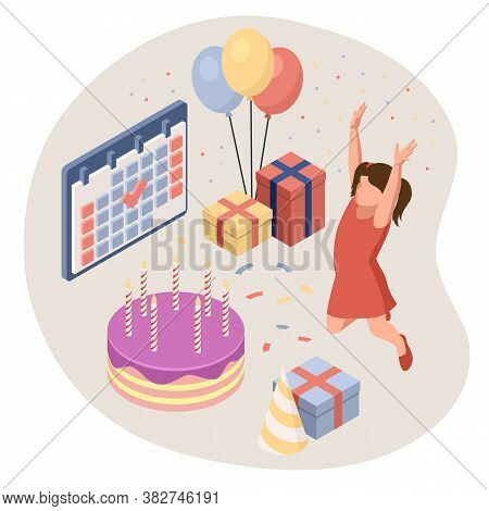 Birthday Party Isolated Concept With Colourful Presents Fairy Lights Flags Balloons And Sweets Symbo