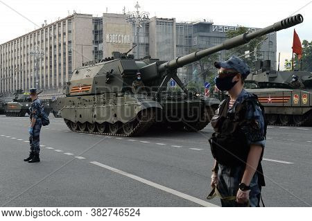 Moscow, Russia - June 17, 2020:russian 152-mm Self-propelled Howitzer Brigade Link