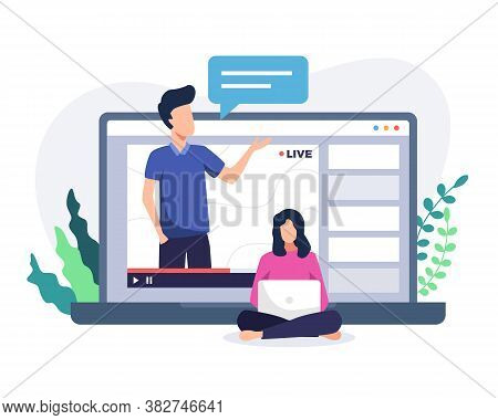 Online Course Tutorial Illustration. Online Courses Concept With Man On Laptop. Man Teacher On Lapto