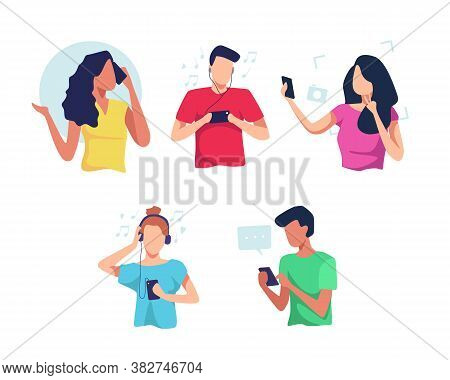 People Using Smartphones Flat Vector Illustration Set. Young People Use Smartphones, Chatting, Makin