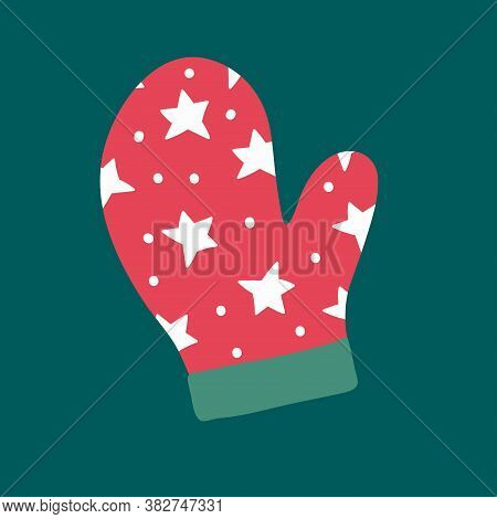 Vector Illustration Of Knitted Christmas Mittens On Green Background. Mitten Icon. Christmas Mittens