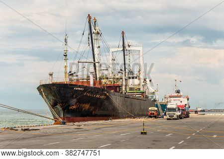 Colombo, Sri Lanka - November 25, 2019: General Cargo Ship Stella Beauty Berthed At Colombo Harbour