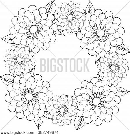 Coloring Book Antistress Flower Wreath Of Simple Flowers