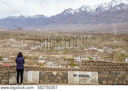 Leh Ladakh , India - April 2019 : Group Of Tourist With City View Of Leh Ladakh From Thiksey Monaste