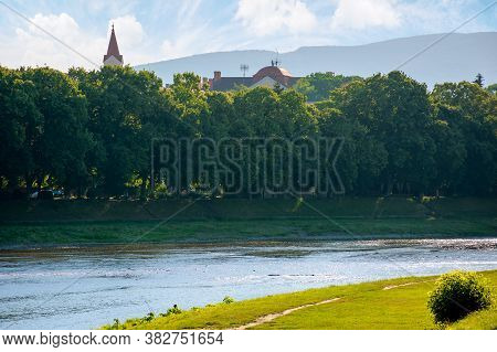 Uzhhorod, Ukraine - Jun 04, 2017. Beautiful Sunny Morning In Uzhgorod. Embankment Of The River Uzh I