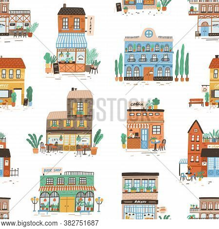 Colorful Buildings Exterior Seamless Pattern. Hand Drawn Stores, Shops, Cafe, Restaurant, Bakery, Co