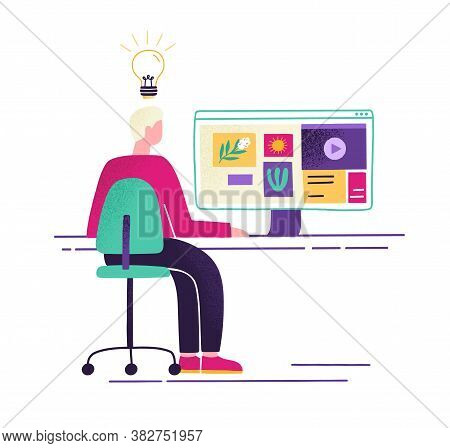 Male Sit At Desk With Computer And Watching Pictures, Videos Or Sites In Internet Vector Flat Illust