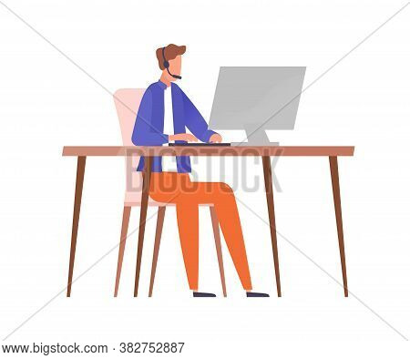 Male Character In Headset Sitting At Table With Computer Vector Flat Illustration. Guy Worker Of Cal
