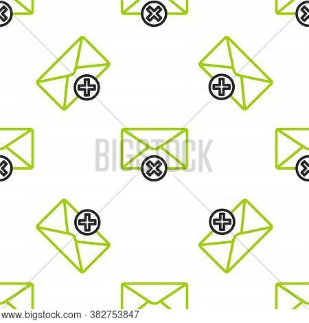 Line Delete Envelope Icon Isolated Seamless Pattern On White Background. Delete Or Error Letter. Cro
