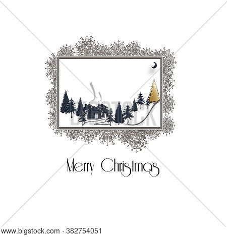 Beautiful Christmas Winter Silhouett Of Landscape With Christmas Trees On White Background, Snowflak