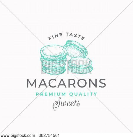 Fine Taste Macarons. Premium Quality Confectionary Abstract Sign, Symbol Or Logo Template. Hand Draw