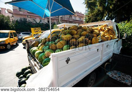 Watermelons And Melon Are Sold In Cars On The Road. Melon (cucumis Melo) On The Counter On The Marke