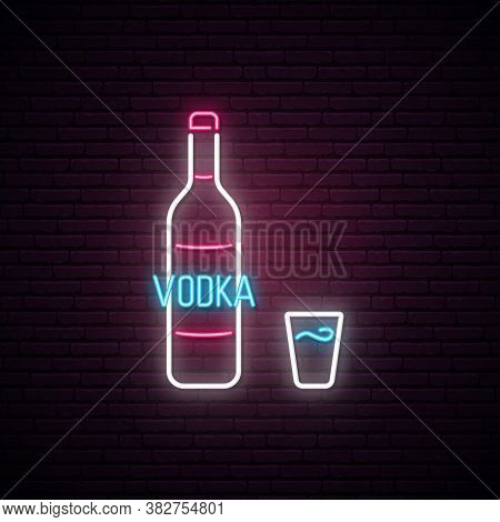 Vodka Neon Sign. Bright Light Signboard With Vodka Bottle And Shot. Neon Alkohol Emblem. Vector Illu