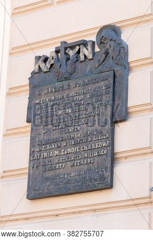 Tarnow, Poland - June 13, 2020: Plaque In Tribute To The Heroes Murdered In Katyn In 1940.