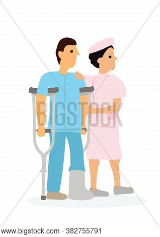 Young Female Nurse Helping Injured Man In Cast. Medicial Care Concept. Flat Cartoon Character Vector