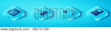 Set Isometric Telephone, Binder Clip, Document Folder And Table Lamp Icon. Vector