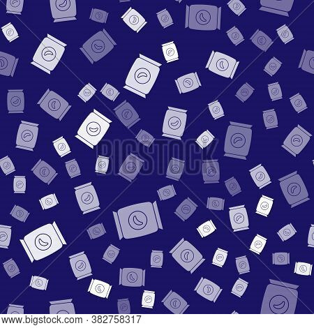 White Bag Or Packet Potato Chips Icon Isolated Seamless Pattern On Blue Background. Vector Illustrat