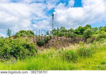 Helisova Skala With Tv Transmitter Near Sosuvka Village. The Highest Peak Of Moravian Karst, Czech: