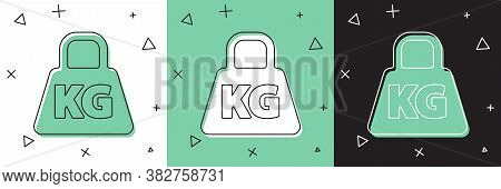 Set Weight Icon Isolated On White And Green, Black Background. Kilogram Weight Block For Weight Lift