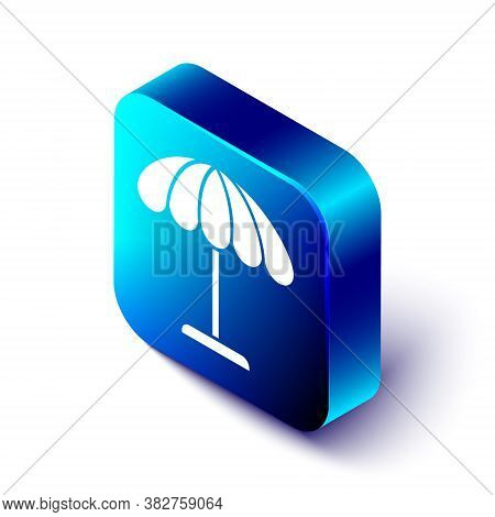 Isometric Sun Protective Umbrella For Beach Icon Isolated On White Background. Large Parasol For Out